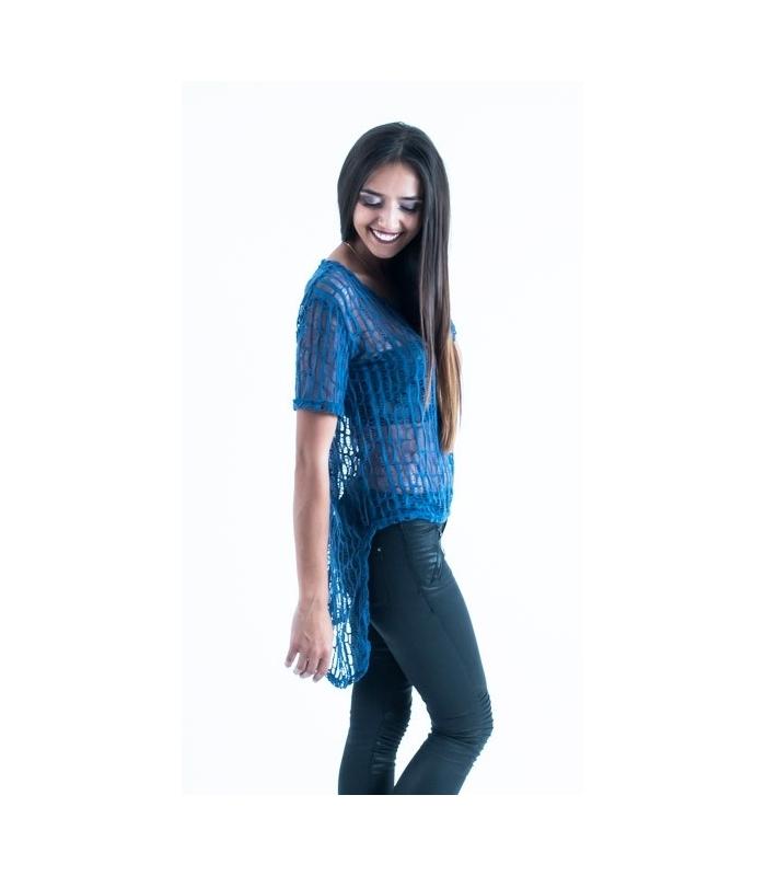Bluza albastra asimetrica  - 1