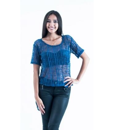 Bluza albastra asimetrica  - 3