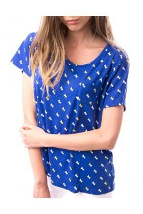 Tricou albastru cu triunghiuri albe si galbene  - 1