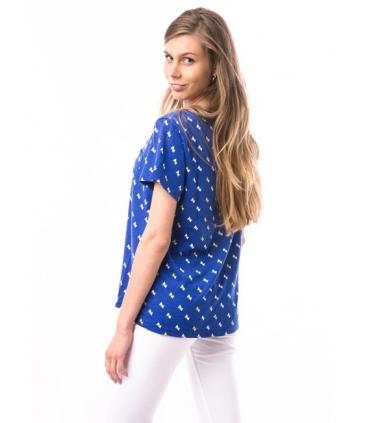 Tricou albastru cu triunghiuri albe si galbene  - 2