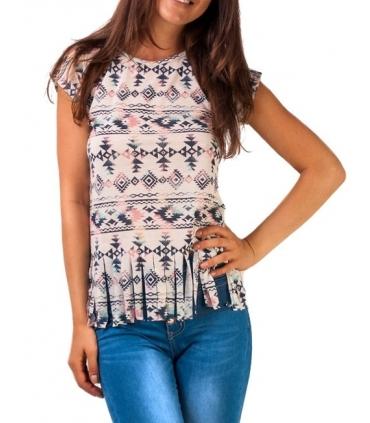 Tricou hippie cu imprimeu aztec si franjuri  - 1