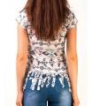 Tricou hippie cu imprimeu aztec si franjuri  - 2