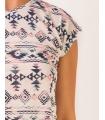 Tricou hippie cu imprimeu aztec si franjuri  - 3