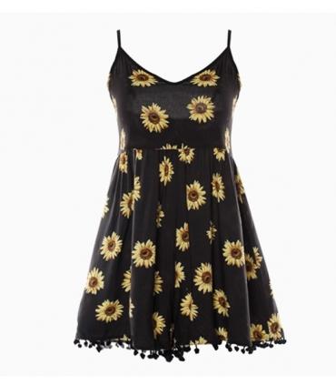 Salopeta scurta neagra cu imprimeu de floarea soarelui  - 7