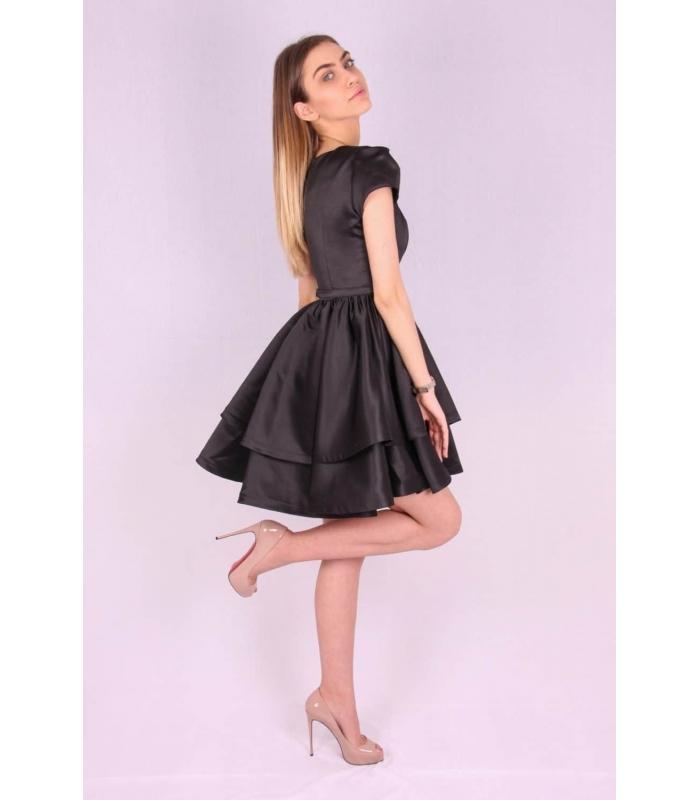 Rochie neagra din material satinat  - 1