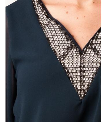 Bluza eleganta bleumarin din voal  - 3