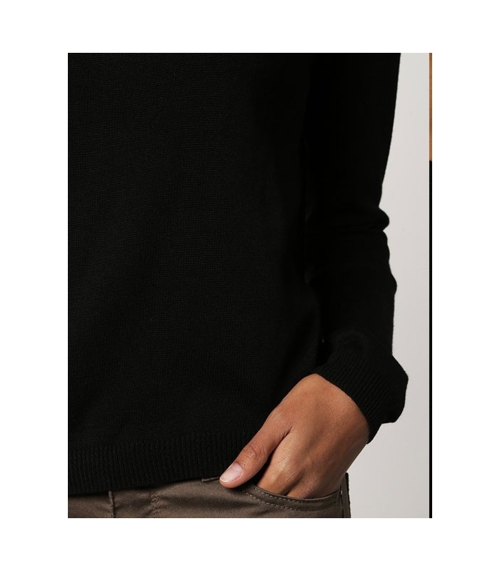 Bluza casual neagra cu insertii de piele  - 1