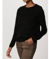 Bluza casual neagra cu insertii de piele