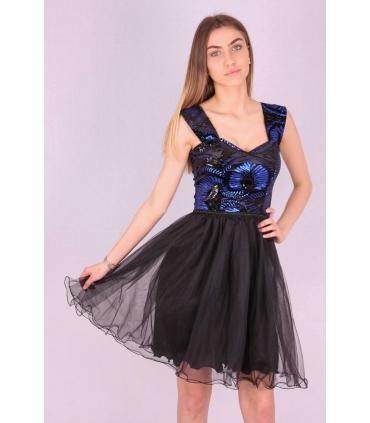 Rochie neagra baby doll cu paiete albastre  - 2