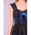 Rochie neagra baby doll cu paiete albastre  - 3