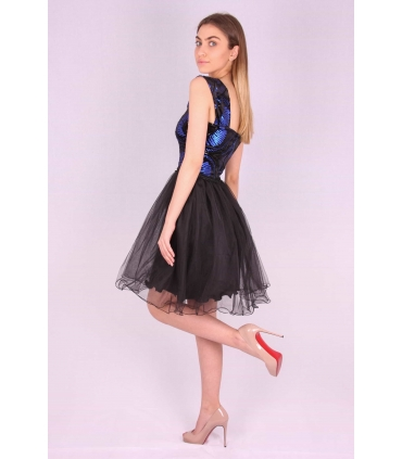 Rochie neagra baby doll cu paiete albastre  - 4