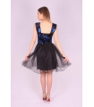 Rochie neagra baby doll cu paiete albastre  - 5