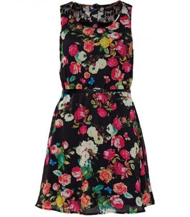 Rochie neagra stil vintage cu imprimeu floral  - 2