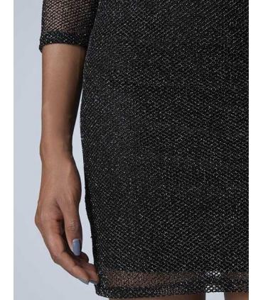 Rochie neagra tip plasa cu sclipici  - 5