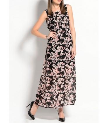 Rochie neagra lunga cu imprimeu floral  - 1