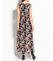 Rochie neagra lunga cu imprimeu floral  - 2
