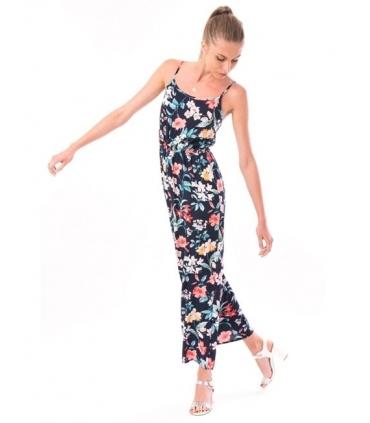 Rochie lunga bleumarin imprimata cu flori colorate