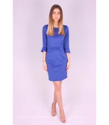 Rochie albastra cu maneci largi si funda