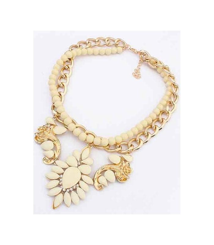 Colier elegant auriu cu pietre crem  - 1