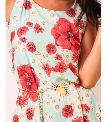 Rochie bleu din voal imprimata cu flori colorate  - 3