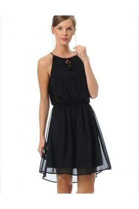 Rochie neagra eleganta cu voal si dantela  - 1