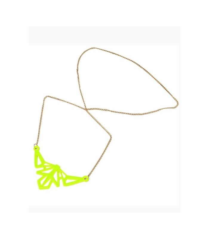 Colier lung cu pandantiv galben neon  - 1