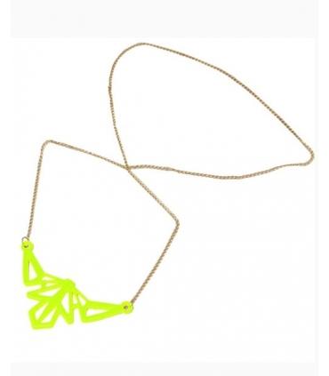 Colier lung cu pandantiv galben neon