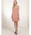 Rochie roz pudrat cu pliuri eleganta  - 1