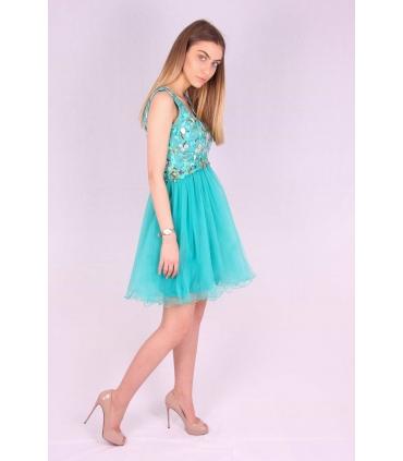 Rochie verde cu broderie multicolora si bust buretat  - 3
