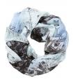 Esarfa tubulara albastra cu imprimeu  - 1