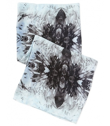 Esarfa tubulara albastra cu imprimeu  - 2