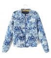 Bomber jacket alba cu imprimeu floral albastru  - 3