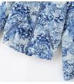 Bomber jacket alba cu imprimeu floral albastru  - 5