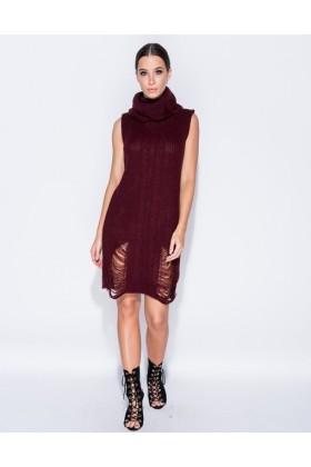 Rochie visinie tricotata cu guler inalt, fara maneci  - 1
