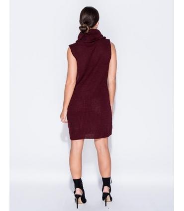 Rochie visinie tricotata cu guler inalt, fara maneci  - 2