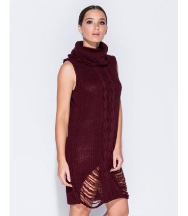 Rochie visinie tricotata cu guler inalt, fara maneci  - 3