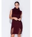 Rochie visinie tricotata cu guler inalt, fara maneci  - 5