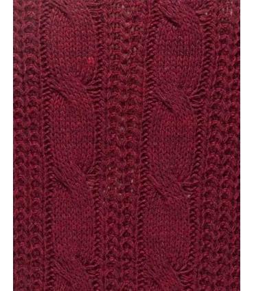 Rochie visinie tricotata cu guler inalt, fara maneci  - 6