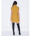 Rochie galben mustar tricotata, guler inalt, fara maneci  - 2