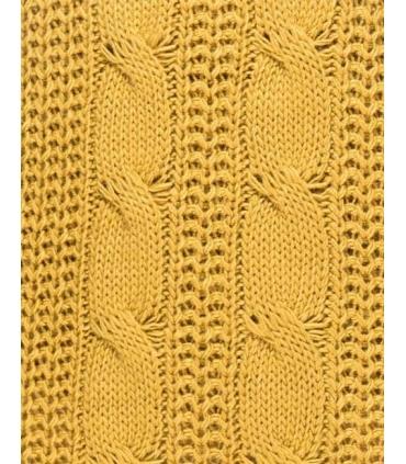 Rochie galben mustar tricotata, guler inalt, fara maneci  - 3