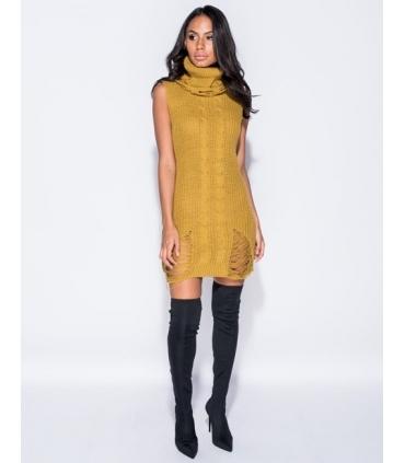 Rochie galben mustar tricotata, guler inalt, fara maneci  - 4