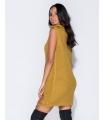 Rochie galben mustar tricotata, guler inalt, fara maneci  - 5