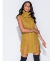 Rochie galben mustar tricotata, guler inalt, fara maneci  - 6