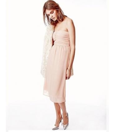 Rochie roz prafuit eleganta, fara bretele, vaporoasa