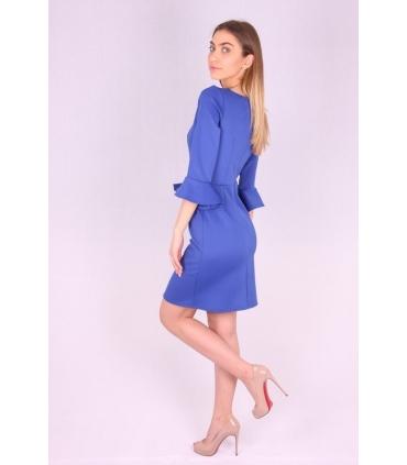 Rochie albastra cu maneci largi si funda  - 4