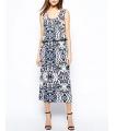 Rochie lunga alba cu imprimeu albastru  - 1