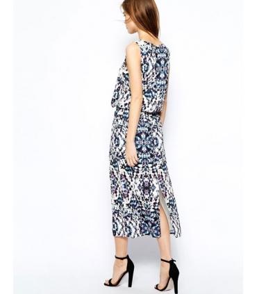 Rochie lunga alba cu imprimeu albastru  - 2