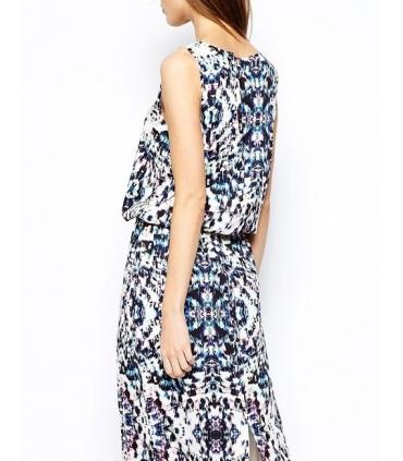 Rochie lunga alba cu imprimeu albastru  - 3