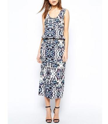 Rochie lunga alba cu imprimeu albastru  - 4