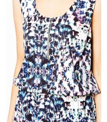 Rochie lunga alba cu imprimeu albastru  - 5